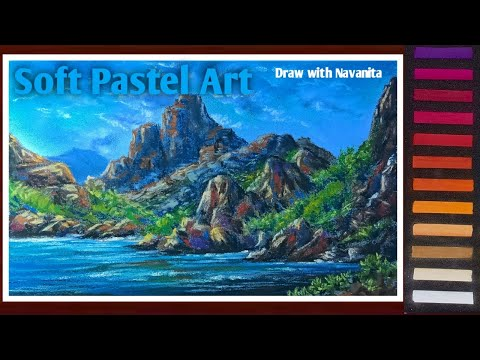 Landscape painting with soft pastels//Hillside scenery painting