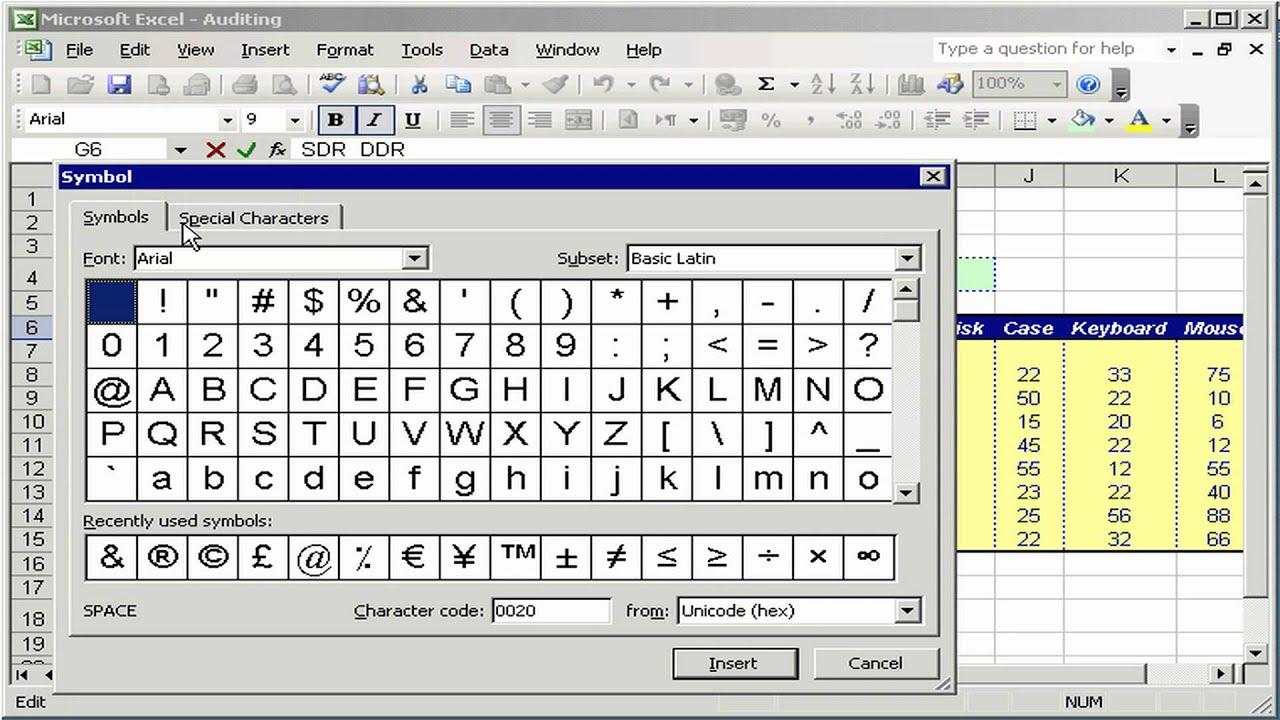 إضافة الرموز Symbols Excel 2003 Youtube