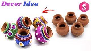 Diwali Pots Decoration from Glitters | Diwali Craft Idea By Sonali
