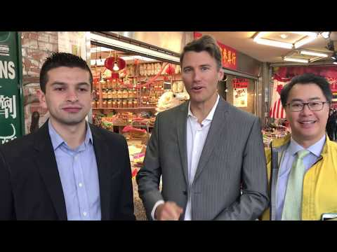 Gregor Robertson, Diego Cardona, and Allan Wong in Chinatown