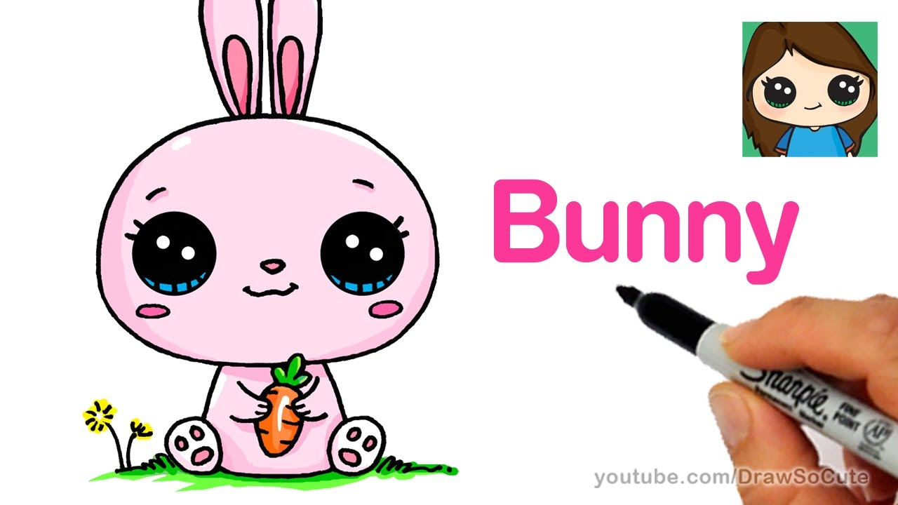 How To Draw A Cartoon Bunny Rabbit Easy Youtube