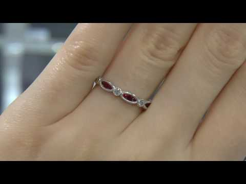 00557 WR048 antique inspired diamond and ruby wedding ring
