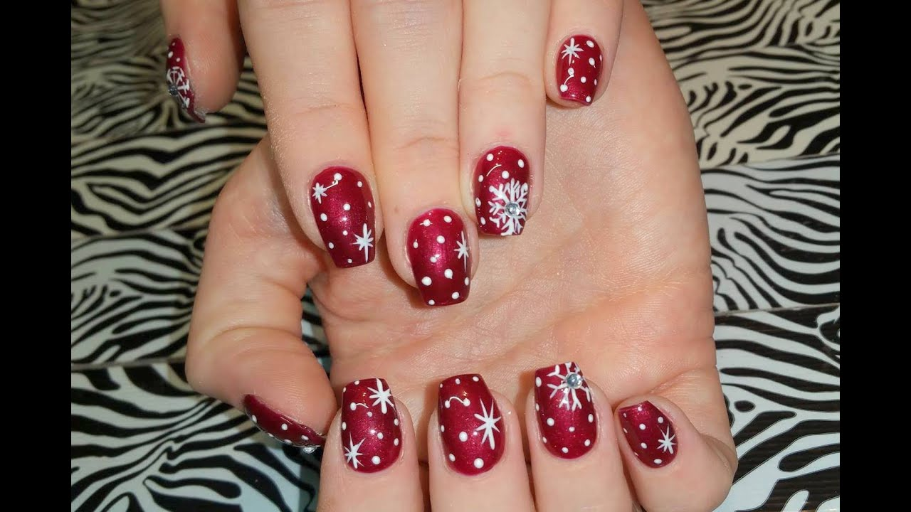 Acrylic Nails L Christmas Snowflakes Stars L Nail Design Youtube