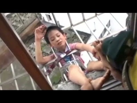 8 year old climbed out got stuck in window cage youtube