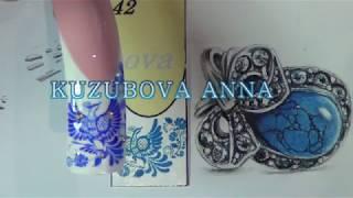 Рисуем птицу - гжель на ногтях/Дизайн ногтей/Птица/Роспись ногтей/Nail art painting