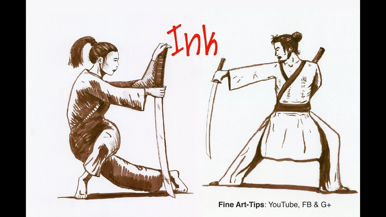 How To Draw A Japanese Warrior With Brush Pen Pen Ink Narrated