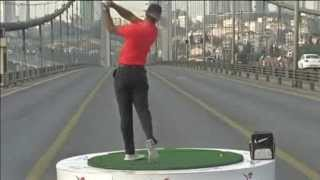 Tiger Woods Hits Golfballs From Asia To Europe Across Bosphorus Bridge