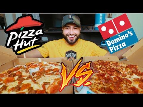 BATTLE OF THE PIZZAS | Dominos VS Pizza Hut MUKBANG
