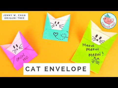 Origami Cat Envelope Tutorial - How to Make An Envelope from Paper With A Message