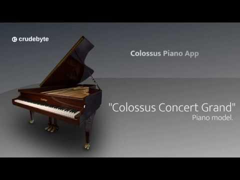 """Colossus Piano App (1/3): the dark brown """"Colossus Concert Grand"""" piano model."""