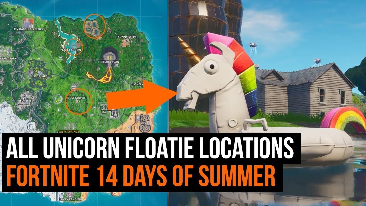 All 8 unicorn floatie locations - Fortnite 14 days of summer challenge