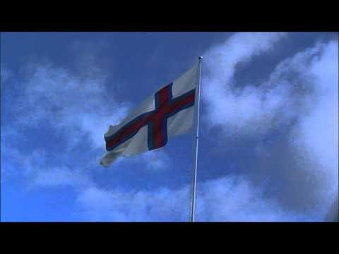 Faroese Flag over Torshavn, Faroe Islands