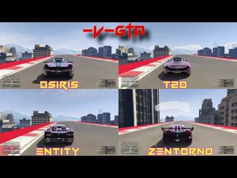 GTA 5 FASTEST SUPER CAR COMPARISON old gen (Osiris vs T20 vs Entity vs Zentorno)