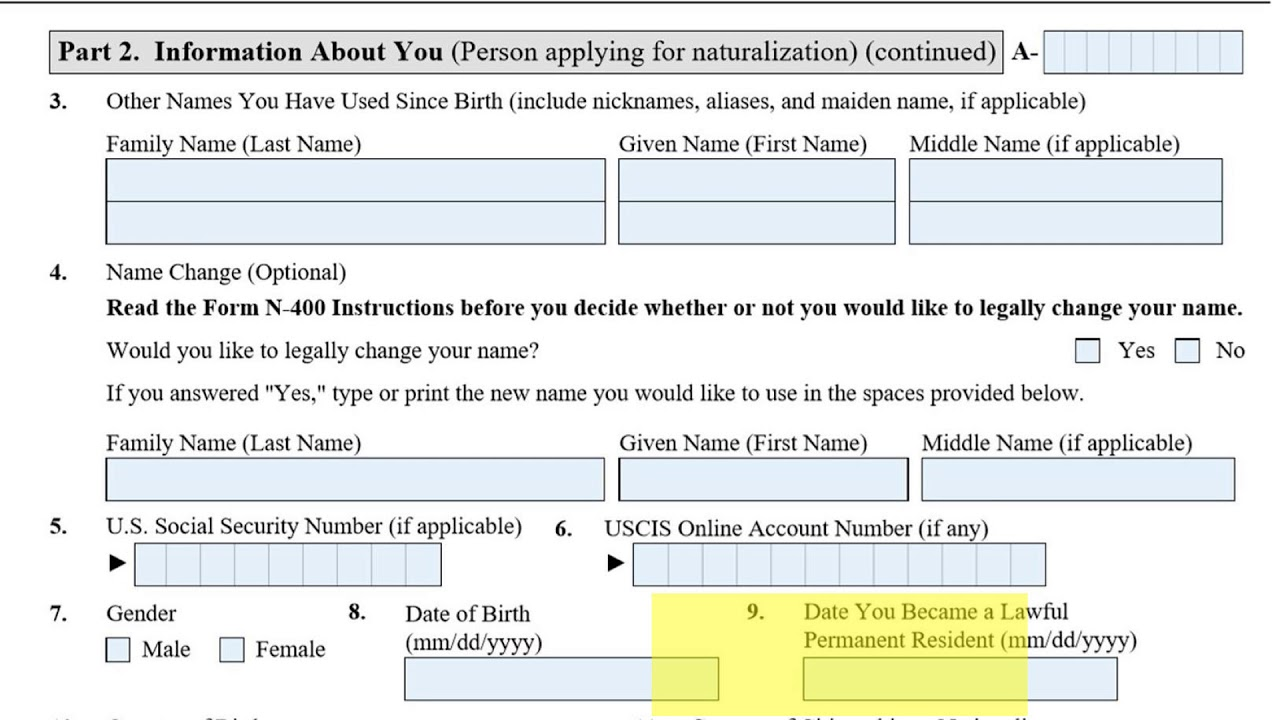 Application for Naturalization Form N-400 Page2