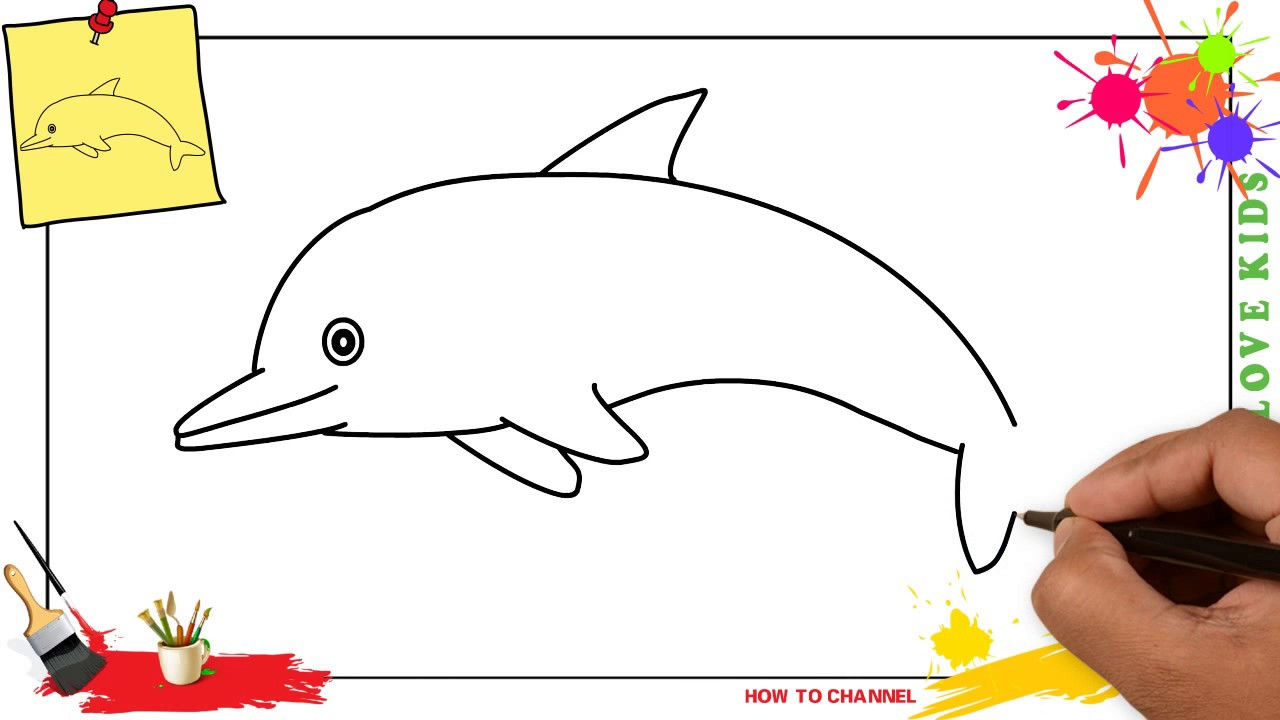 How To Draw A Dolphin 3 Easy Slowly Step By Step For Kids And