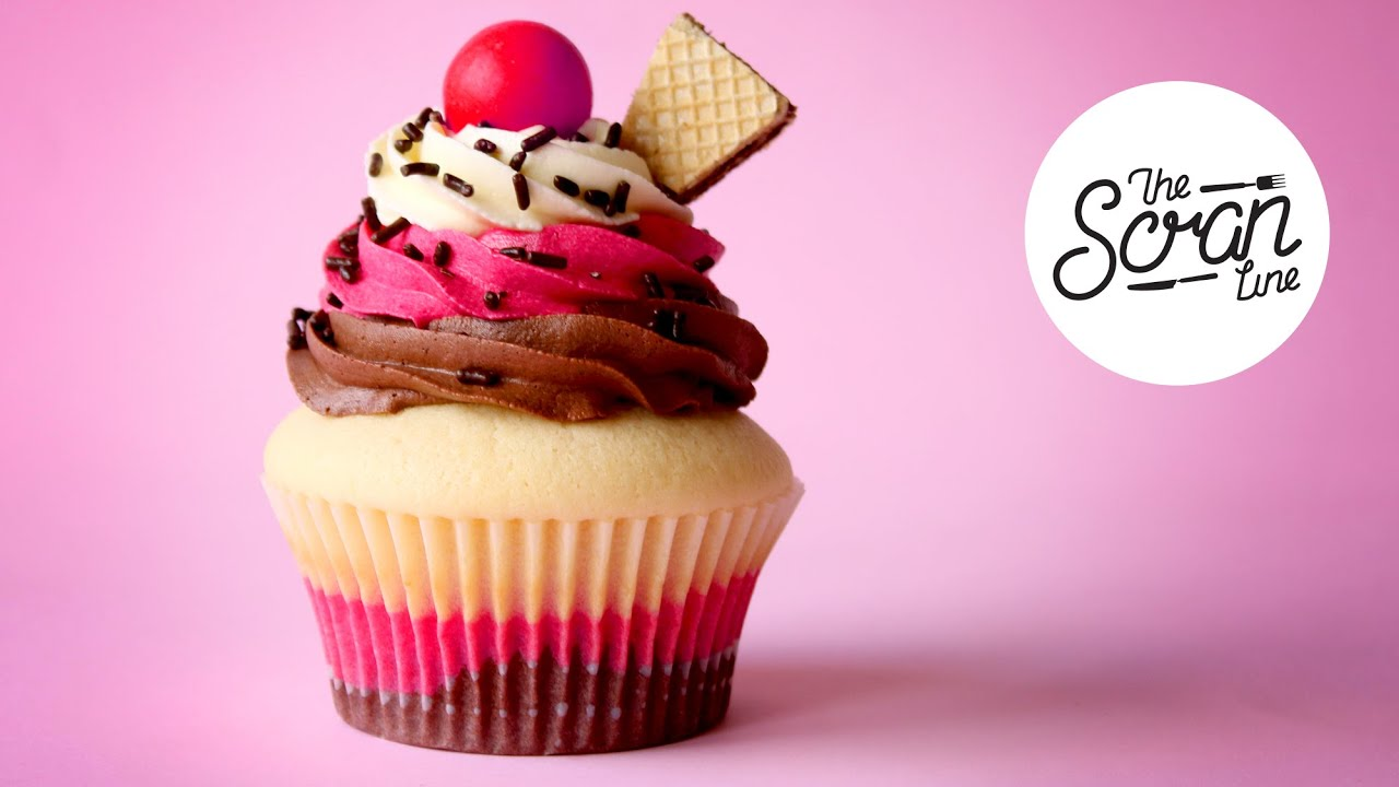 NEAPOLITAN ICE CREAM CUPCAKES - The Scran Line - YouTube