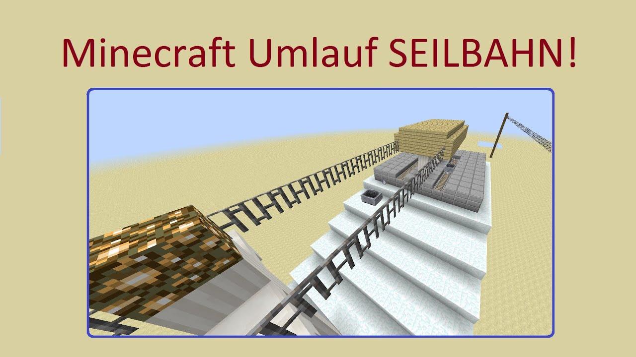 minecraft umlauf seilbahn realistisch mit kommando blöcken - youtube