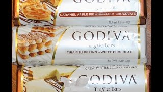 Godiva Caramel Apple Pie, Tiramisu & Cheesecake Filling Truffle Bar Review