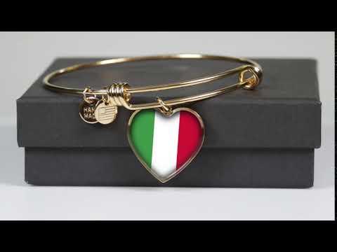 Italian Flag with Heart Charm Bangle