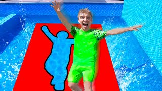 Jumping Through IMPOSSIBLE Shapes into Backyard Pool! (Sharer Family Vacation $10,000 Challenge)