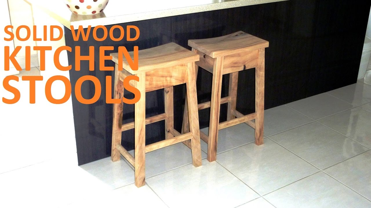 Solid Wood Kitchen Stools   How To | Covewood Creations   YouTube
