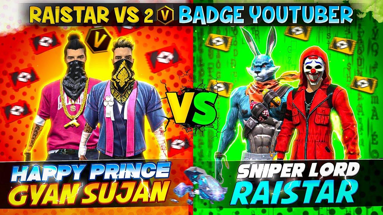 Raistar vs 2 V Badge YouTubers God Level Speed Gameplay 😱   WHO WON?