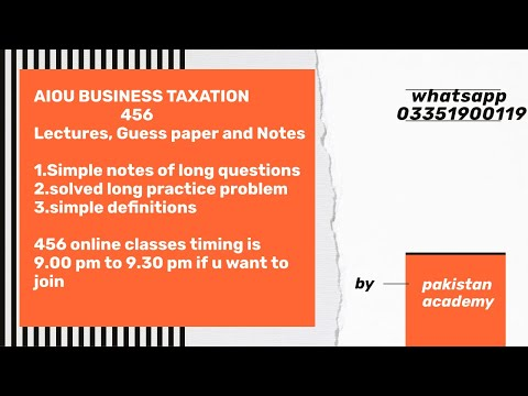 online-lectures/-videos-lecture-of-456-business-taxation-aiou-#aiou456