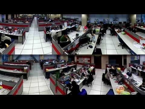 Nagranie kamery z obiektywem Fisheye w biurze