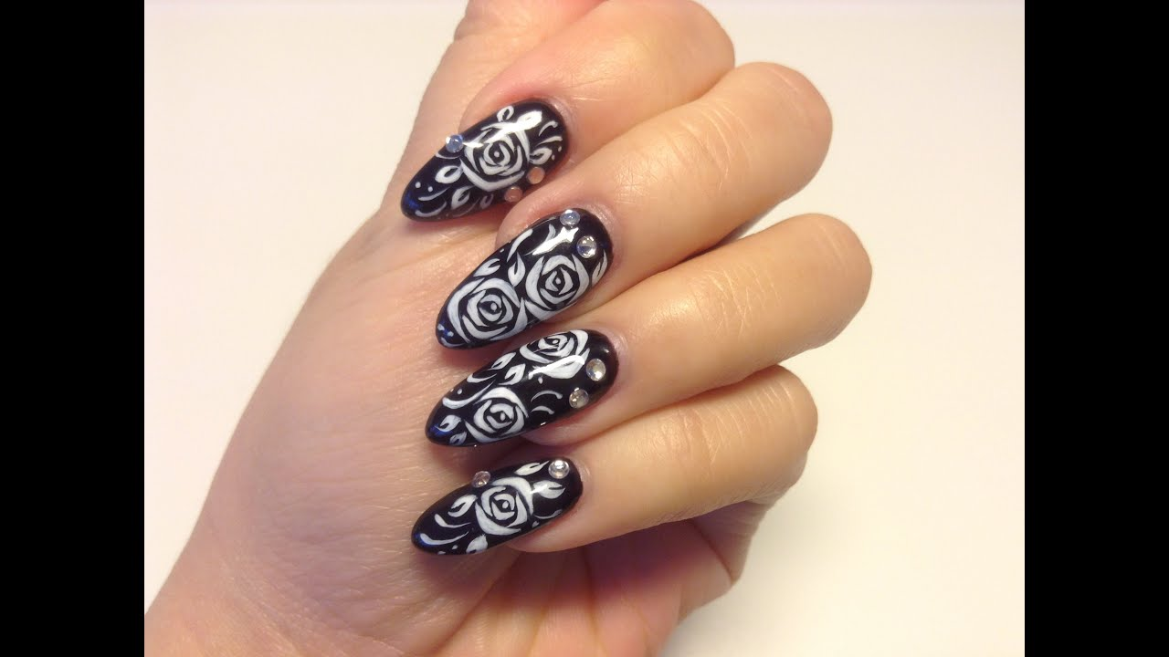 Refill gel nail with rose flower nail art - Sabrina Zoetermeer - YouTube