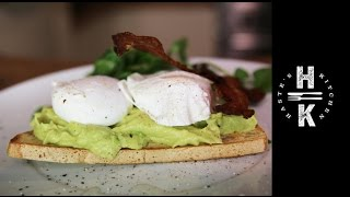 perfect poached eggs chilli avocado pure with crisp dry cured bacon on gf bread