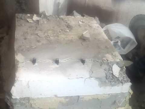 Разрушение бетона с помощью клиньев, часть 1