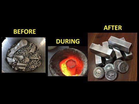 Aluminium Melting into 11 Ingots Full Pour Scrap Metal January 2017