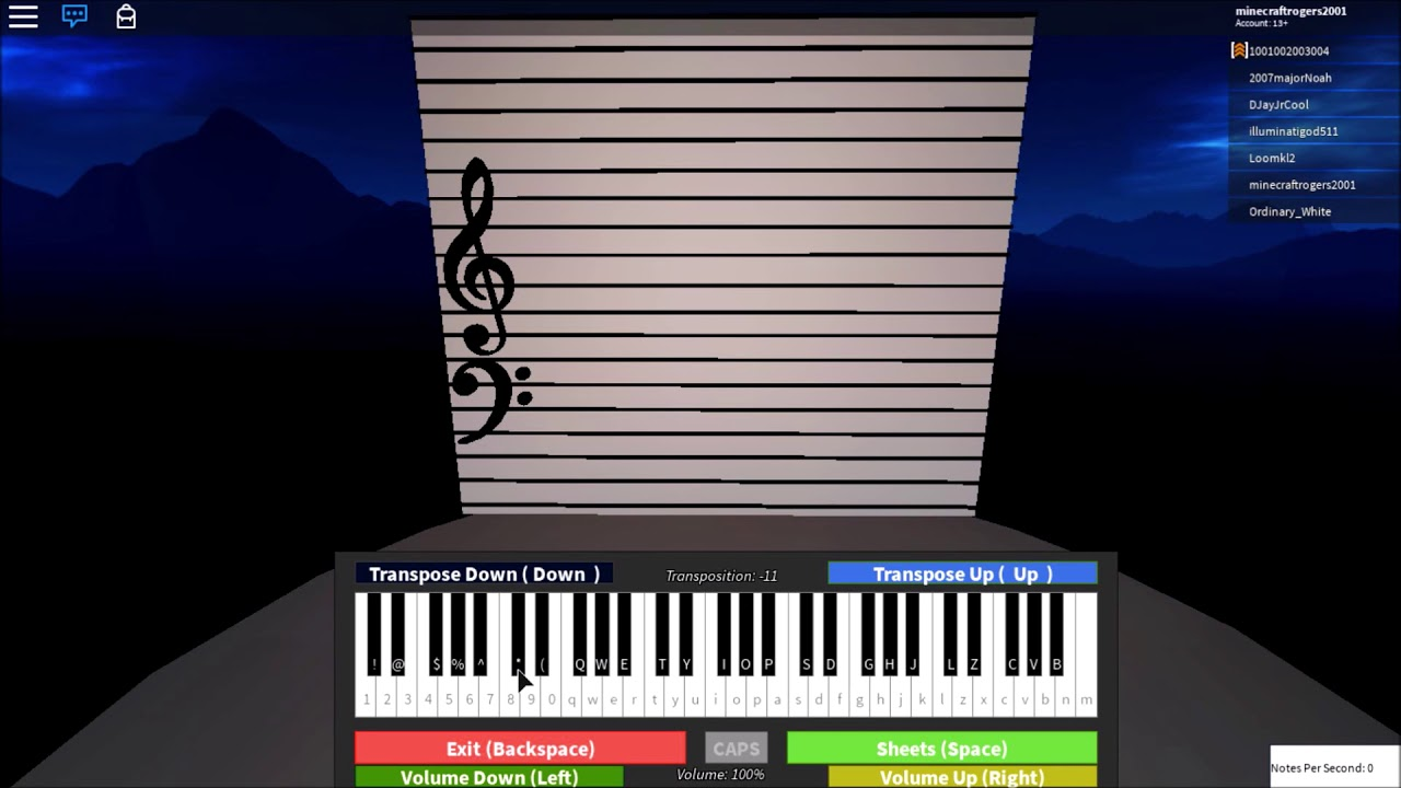 Roblox Gameplay Virtual Piano Visualization Showcase By Rogers