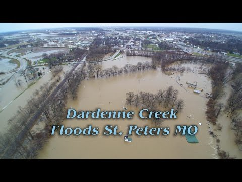 Dardenne Creek floods out St. Peters Missouri - Closes I70 highway  Aerial footage