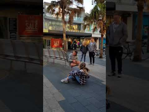 Jazzy's first day busking on Manly Corso Australia. Not bad for 9 years old. WOW!