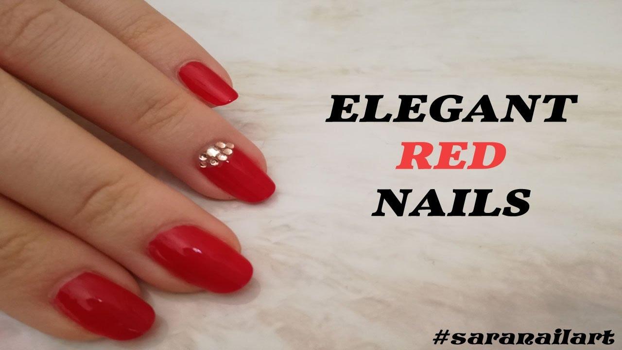 Elegant Red Nails | Sara Nail Art - YouTube