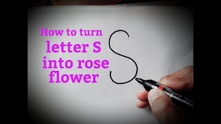 How to draw a rose flower easy from letter S how to draw from alphabets/letters drawing