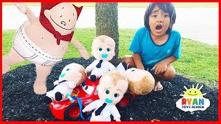 Captain Underpants Rescue Bad Boss Baby on Disney Cars Lightning McQueen Kids Pretend Play