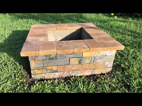 Fire pit - Cinder Block, Slate, Stone Top - DIY