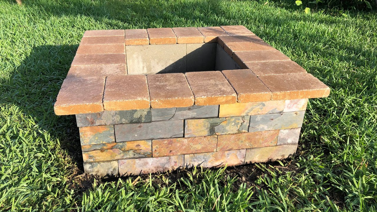 Fire pit - Cinder Block, Slate, Stone Top - DIY - YouTube on Cinder Block Fireplace Diy  id=52820