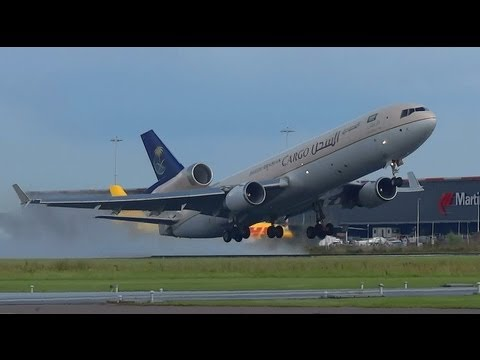 MD11 Freighter Saudi Arabian Airline HZ-ANC WET takeoff @ AMS Schiphol