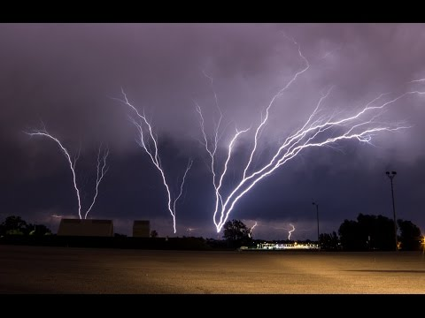 INCREDIBLE Upward Lightning (Ground to Cloud) - May 18, 2017
