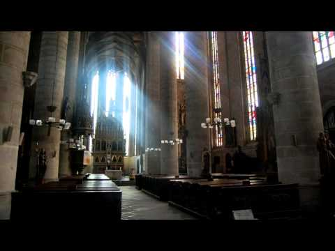 (3D binaural recording) Inside a church (echoing footsteps, pipe organ)