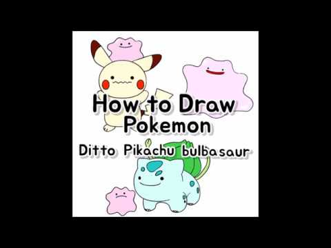 How To Draw Ditto Pokemon Pikachubulbasaursquirtlepoliwag