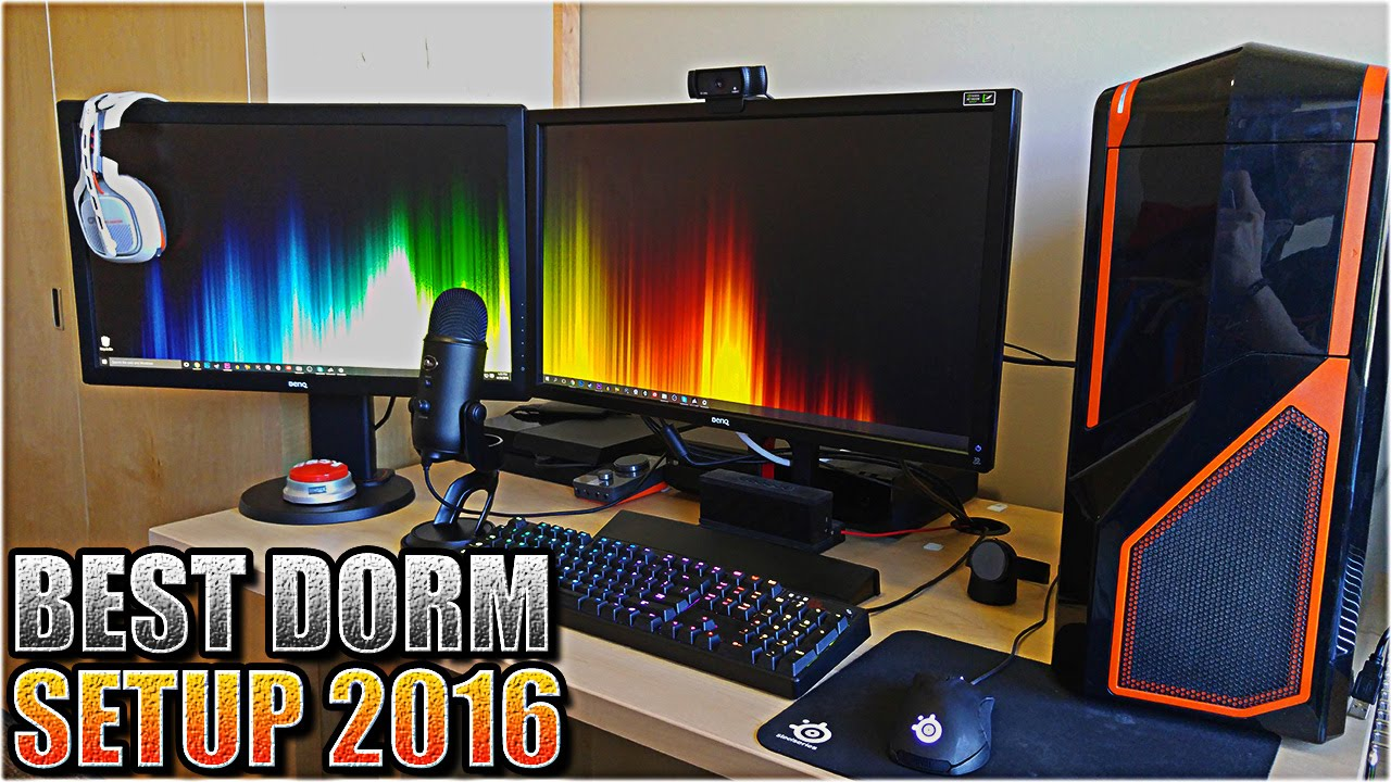 Insane college dorm room gaming pc and console gaming Dorm room setups