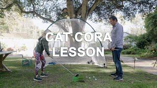 Nick Faldo Gives Cat Cora a Golf Lesson