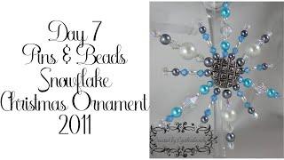 Pins & Beads Snowflake Christmas Ornament 7/2011