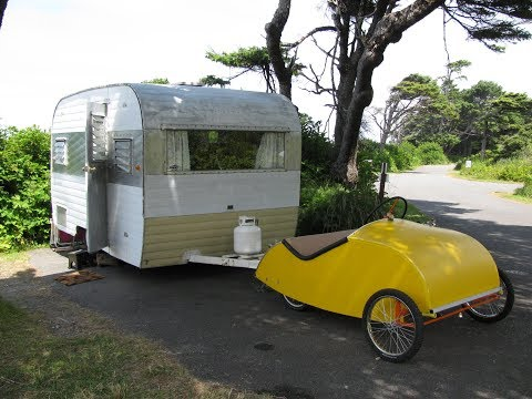 Camping with our vintage Camper, pedal car and Sand sculpting
