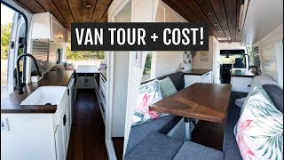VAN TOUR + CONVERSION COST: Self-converted 170 WB Sprinter with a full bathroom!