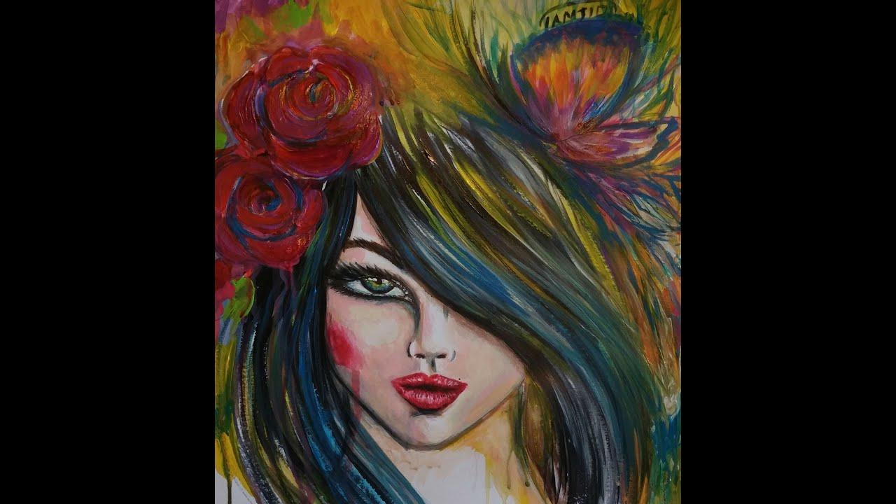 tuto portrait peinture acrylique speed painting sara tamjidi youtube. Black Bedroom Furniture Sets. Home Design Ideas
